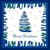 Abstract Christmas tree in the blue square frame with snowflakes