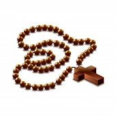 Rosary With Cross Isolated On White Vector