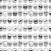 Set of icons skull illustration. Vector seamless pattern