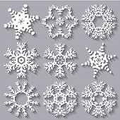 Snowflakes Flat Icon Set Collection