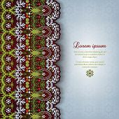 Greeting Card With Lace And Floral Delicate Ornament