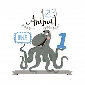 Children alphabet of animals and figures. One figure. Vector illustration.