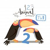 Children alphabet of animals and figures. Two figure. Vector illustration.
