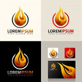 picture of fireman  - Logo and Abstract web Icon and fire vector identity symbol - JPG