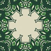 Green stylized ornate frame card in arabic style.