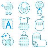 Set of blue baby's symbols