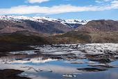 Glacier And Lake With Icebergs, Iceland