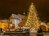 Brasov, Romania with an old Christmas tree
