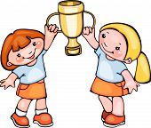 school kids with spotrt cup