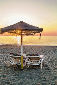 Sunset On The Beach In Torremolinos, Spain