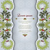 Greeting Card Invitation With Floral Delicate Ornament