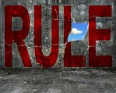 Red Rule Word On Grey Grunge Concrete Wall