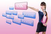 woman pressing OK button, or  error