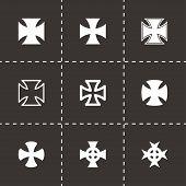 picture of maltese-cross  - Vector black choppers crosses icon set on black background - JPG