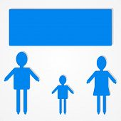 Family infographic icon with text bubble vector illustration