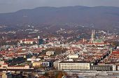 ZAGREB, CROATIA - OCTOBER 14: Aerial view of Zagreb, the capital of Croatia on October 14, 2007 Zagreb, Croatia.