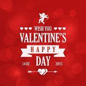 St. Valentine Day Vintage Retro Typography Lettering Design Greeting Card on Bokeh background.  Vector illustration Valentine's day of Love Template. Heart, arrow, cupid icons.