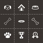 stock photo of bag-of-dog-food  - Vector black dog icon set on black background - JPG