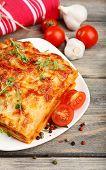 Portion of tasty lasagna, close-up