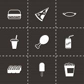Vector black fastfood icon set