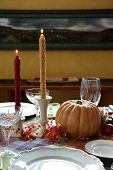 Thanksgiving dinner table place setting