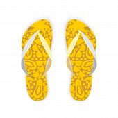 Yellow Flip FlopsWith Pattern