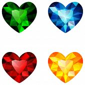 Colorful gems heart-shaped
