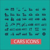 cars, auto, repair, technics, car station icons, signs set, vector