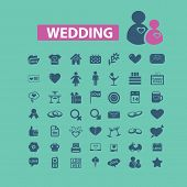 wedding, love, romance icons set, vector