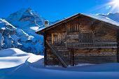 Old farmhouse in the Alps close to Jungfrau