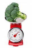 Fresh Raw Broccoli On The Scales. Isolated On White Background.