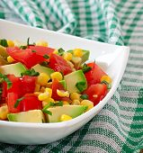 picture of sweet-corn  - Mixed salad with avocado - JPG