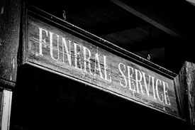image of funeral  - Vintage Funeral Service cartel made of wood. Good for concepts.