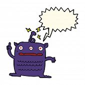 pic of alien  - cartoon weird little alien with speech bubble - JPG