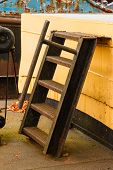 picture of safe haven  - Old boat rusty ladder or stair case - JPG