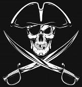 picture of pirate hat  - Vector illustration of an evil pirate skull in hat - JPG