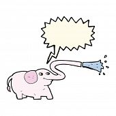 picture of squirt  - cartoon elephant squirting water with speech bubble - JPG