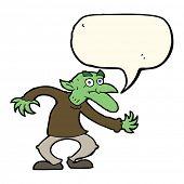 stock photo of goblin  - cartoon goblin with speech bubble - JPG