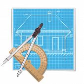 stock photo of protractor  - Layout with protractor and compass - JPG