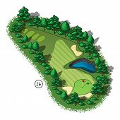 stock photo of hazardous  - Golf course layout with water hazard and trees and plants around - JPG