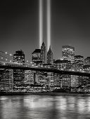 foto of tribute  - Twin beacons of light known as The Tribute in Light in Lower Manhattan New York City commemorating the events of September 11 - JPG