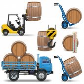stock photo of wheelbarrow  - Barrels Shipping Icons - JPG