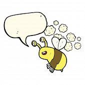 foto of bee cartoon  - cartoon happy bee with speech bubble - JPG