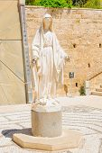 stock photo of israel people  - A statue of the Virgin Mary in the Church of Annunciation in Nazareth Israel - JPG