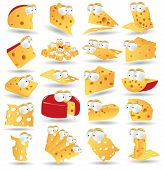 image of shredded cheese  - big set cheese icon cartoon character collection - JPG