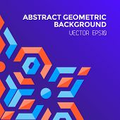 picture of asymmetric  - vector asymmetric colorful abstract geometric blue orange red jewels violet background - JPG