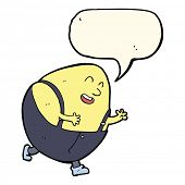 image of nursery rhyme  - cartoon humpty dumpty egg character with speech bubble - JPG