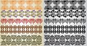 image of art nouveau  - set art nouveau pattern edges color and black - JPG