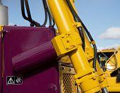 stock photo of bulldozer  - Detail of hydraulic bulldozer piston excavator arm - JPG