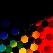 pic of hexagon pattern  - Dark colorful hexagonal background - JPG